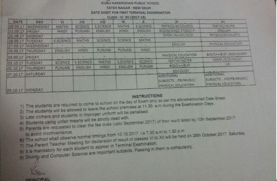 DATE SHEET FOR FIRST TERMINAL EXAMINATION, CLASSES(VI TO XII) 2017-18